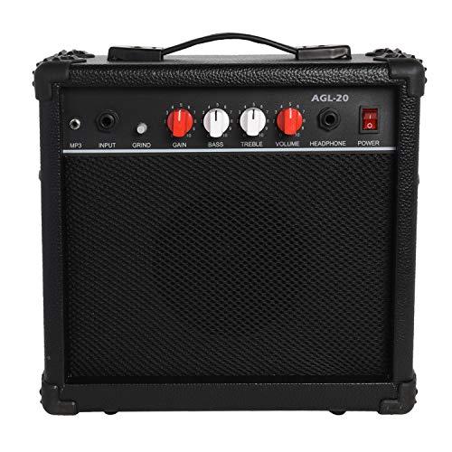 LyxPro AGL-20 Electric Guitar 20 Watt Amplifier Built In Speaker Headphone Jack And Aux Input In ...