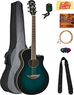 Yamaha APX600 Thin Body Acoustic-Electric Guitar – Oriental Blue Burst Bundle with Gig Bag ...