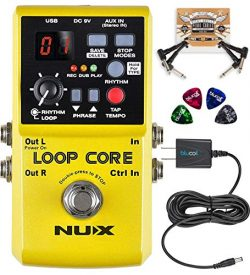 NUX Loop Core Looper Effects Pedal with Tap Tempo Bundle with Blucoil Slim 9V 670ma Power Supply ...