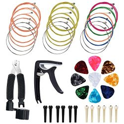 Pinowu Acoustic Guitar Strings Changing Kit (44pcs) – Guitar Tool Kit Including Guitar Str ...