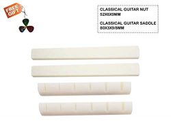 SUNLP Guitar Bone Nut Saddle for Classical Guitar 6 Strings Classical Guitar Replacement Parts ( ...