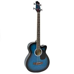 YMC Cutaway Electric Acoustic Bass Guitar Blue Solid Wood Construction With Equalizer-Blue