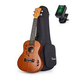 Kmise Concert Ukulele Uke Acoustic Hawaiian Guitar 23 Inch 18 Frets Mahagany With Ukelele Bag an ...