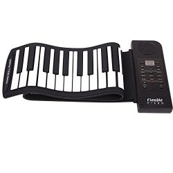 Lightahead Portable 61 Keys Roll-Up Flexible Electronic Piano Keyboard with Full Soft Responsive ...