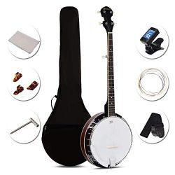 Costzon 5-String Banjo 24 Bracket with Geared 5th tuner and Mid-range Closed Handle, Include 420 ...