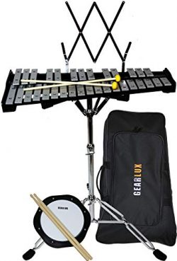 Gearlux 32-Note Glockenspiel Bell Kit with 8″ Practice Pad, Stand, Music Rest, Mallets, Dr ...