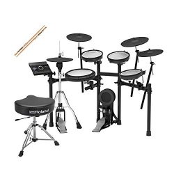 Roland TD-17KVX-S V-Drums Electronic Drum Set with Roland Drum Throne and 3 pairs of Zildjian tr ...