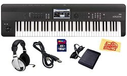 Korg Krome 73 Key Semi-Weighted Music Workstation Keyboard Bundle with SD Card, USB Cable, Susta ...