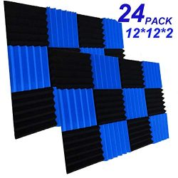 24 Pack Acoustic Foam Panels 2″ X 12″ X 12″ Soundproofing Studio Foam Wedge Ti ...