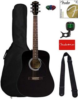 Fender FA-115 Dreadnought Acoustic Guitar – Black Bundle with Gig Bag, Tuner, Strings, Str ...
