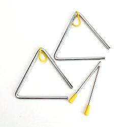 Foraineam Hand Percussion Instrument Triangles with Striker 2 Pack Triangle 5 Inch