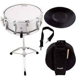 Mendini Student Snare Drum Set with Gig Bag, Sticks, Stand and Practice Pad Kit, Silver, MSN-145 ...