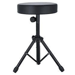 Drum Thrones Adjustable Padded Drum Stool with Anti-Slip Feet for Adults and Kids (Upgrate_Black)