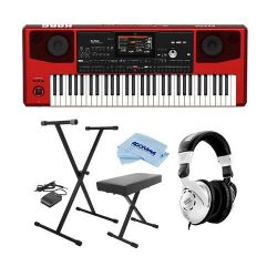 Korg Pa700 61-Key Pro Arranger with Touchscreen and Speakers, Red – Bundle With On-Stage K ...