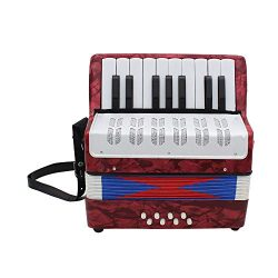 EDTara Accordion,17-Key 8 Bass Mini Accordion Educational Musical Instrument for Children Adult  ...