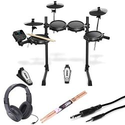 Alesis Turbo Mesh 7 Piece Electronic Drum Kit With a Pair of Drum Sticks + Samson SR350 Headphon ...