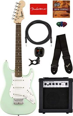Fender Squier Mini Strat Electric Guitar – Surf Green Bundle with Amplifier, Instrument Ca ...