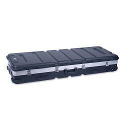 Crossrock 61 Key Keyboard Case Hard Molded with Wheels, Black (CRA861YKBK)