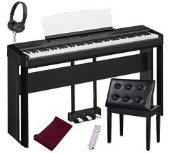 Yamaha P515B 88-Key Digital Piano Black bundled with the Yamaha L515 Piano Stand, the Yamaha LP1 ...