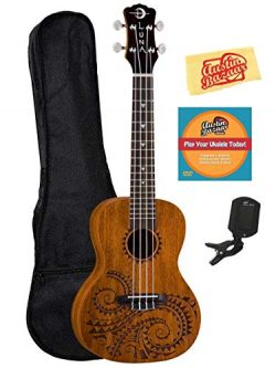Luna Tattoo Mahogany Concert Ukulele Bundle with Gig Bag, Tuner, Austin Bazaar Instructional DVD ...