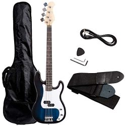 Costzon Full Size Electric 4 String Bass Guitar for Beginner Starter Complete Kit, Rose Fingerbo ...