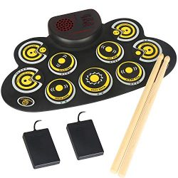 Electronic Drum Set Portable Electronic Roll Up Practice Pad Drum Kit with Built in Speakers Foo ...