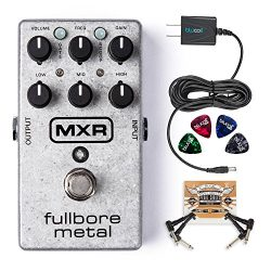 MXR M116 Fullbore Metal Distortion Pedal Bundle with Blucoil Power Supply Slim AC/DC Adapter for ...