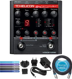 TC Helicon VoiceTone Harmony-G XT Vocal Effects Pedal Bundle with 12V Power Supply (Tip Negative ...