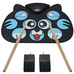 Lujex Portable Electronic Drum,9 Keys Electric Drum Pad Foldable Roll Up Portable Drum Practice  ...