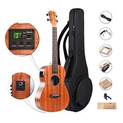 Baritone Electric Ukulele Caramel All Solid Mahogany 30 inch Professional Wooden ukelele Instrum ...