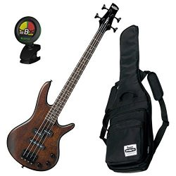Ibanez GSRM20B WNF Mikro Walnut Flat Bass Bundle w/Gig Bag & Tuner