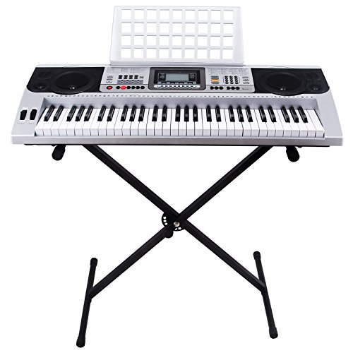 Keyboard electric piano organ with stand silver 61 key music digital electronic