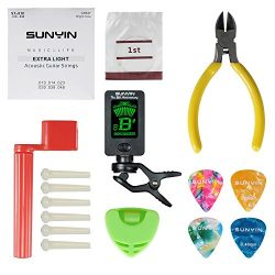 SUNYIN Acoustic Guitar Tool,Kit for Starter with Guitar Strings Winder Cutter Tuner Bridge Pins  ...