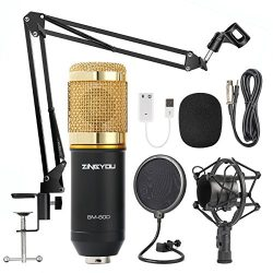 ZINGYOU Condenser Microphone Bundle, BM-800 Mic Kit with Adjustable Mic Suspension Scissor Arm,  ...
