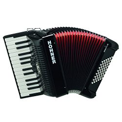 Hohner BR48B-N Bravo Piano Accordion, 26-Key/48 Bass, Black