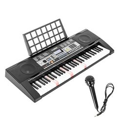 LAGRIMA LG-803 61-Key Electronic Keyboard Piano w/Light-Up Keys for Beginner(Kid & Adult), L ...