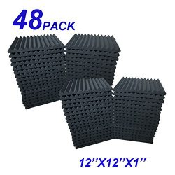 48 Pack Acoustic Foam Panel Wedge Studio Soundproofing Wall Tiles 12″ X 12″ X 1″