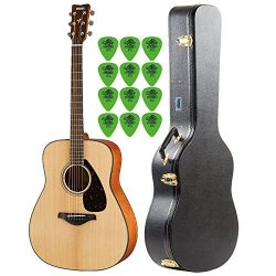 Yamaha FG800 Natural Folk Guitar with Knox Hard Shell Acoustic Guitar Case & Guitar Picks (1 ...