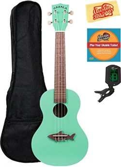 Kala MK-CS-GRN Makala Shark Concert Ukulele – Surf Green Bundle with Gig Bag, Tuner, Austi ...