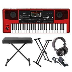 Korg Pa700RD 61-Key Professional Arranger Keyboard (Red) Bundle with Knox Gear Double X Stand an ...