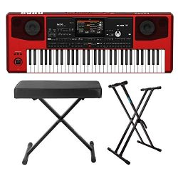 Korg PA700 Red 61-Key Professional Arranger Keyboard (Red) Bundle with Knox Gear Adjustable X St ...