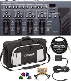 BOSS ME-80 Multi-Effects Pedal Bundle with Bag-L2 Large Instrument Bag, Blucoil Slim 9V 670ma Po ...