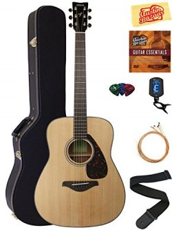 Yamaha FG800 Solid Top Folk Acoustic Guitar – Natural Bundle with Hard Case, Tuner, String ...