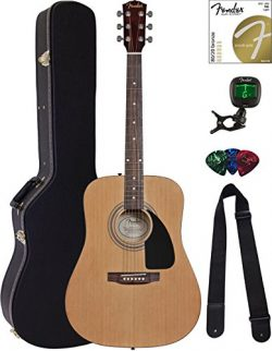 Fender FA-115 Dreadnought Acoustic Guitar – Natural Bundle with Hard Case, Tuner, Strings, ...