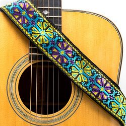 CLOUDMUSIC Guitar Strap Cool Strap With Leather Ends Vintage Classical Pattern Design Guitar Pic ...