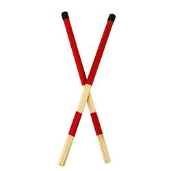 Timoo Jazz Drum Sticks Bamboo Drum Rod Brushes Jazz Folk Music (Red)