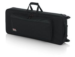 Gator Lightweight Case with Retractable Pull Handle and Wheels Fits Standard 49 Note Keyboards a ...
