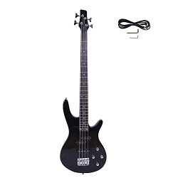 GLARRY IB Bass Guitar Full Size 4 String Exquisite Stylish Bass with Power Line and Wrench Tool  ...