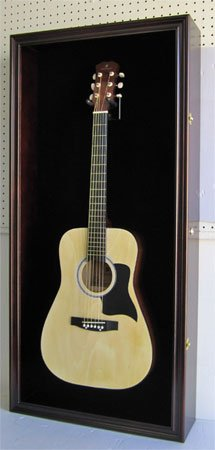 LARGE Acoustic Guitar Display Case Cabinet, Fit most Guitars, with Lock, Mahogany Finish (Black  ...