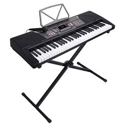 LAGRIMA 61 Key Portable Electric Piano Keyboard, Music Keyboard W/X Adjustable Stand, Power Supp ...